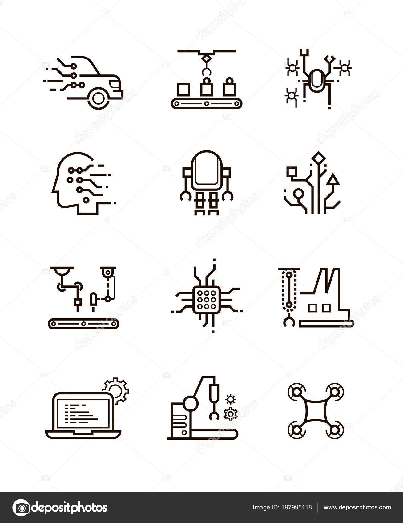 Robot Technology And Robotic Machinery Line Vector Icons Artificial