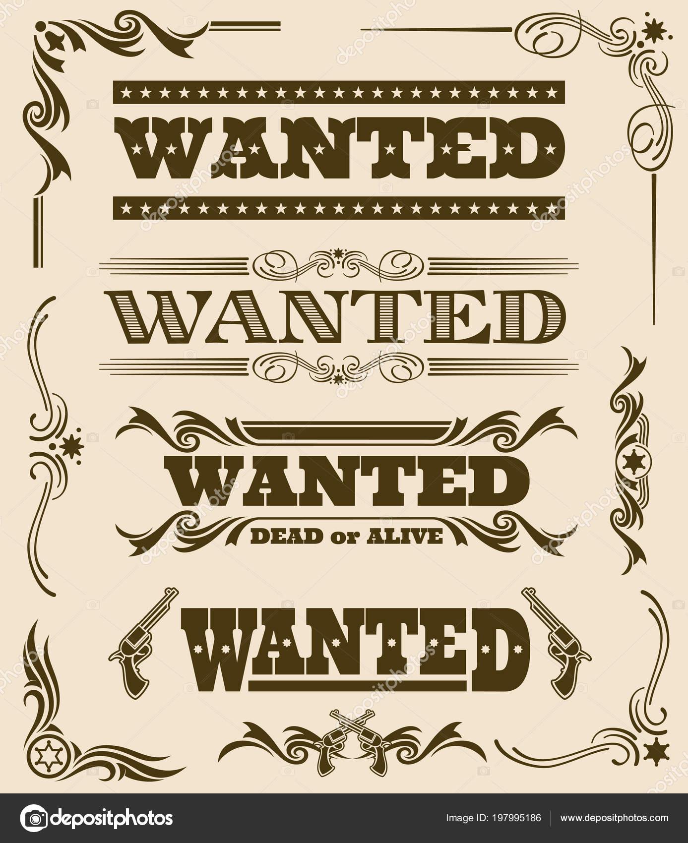 Vintage querido muerto o vivo cartel occidental vector marco adorno ...