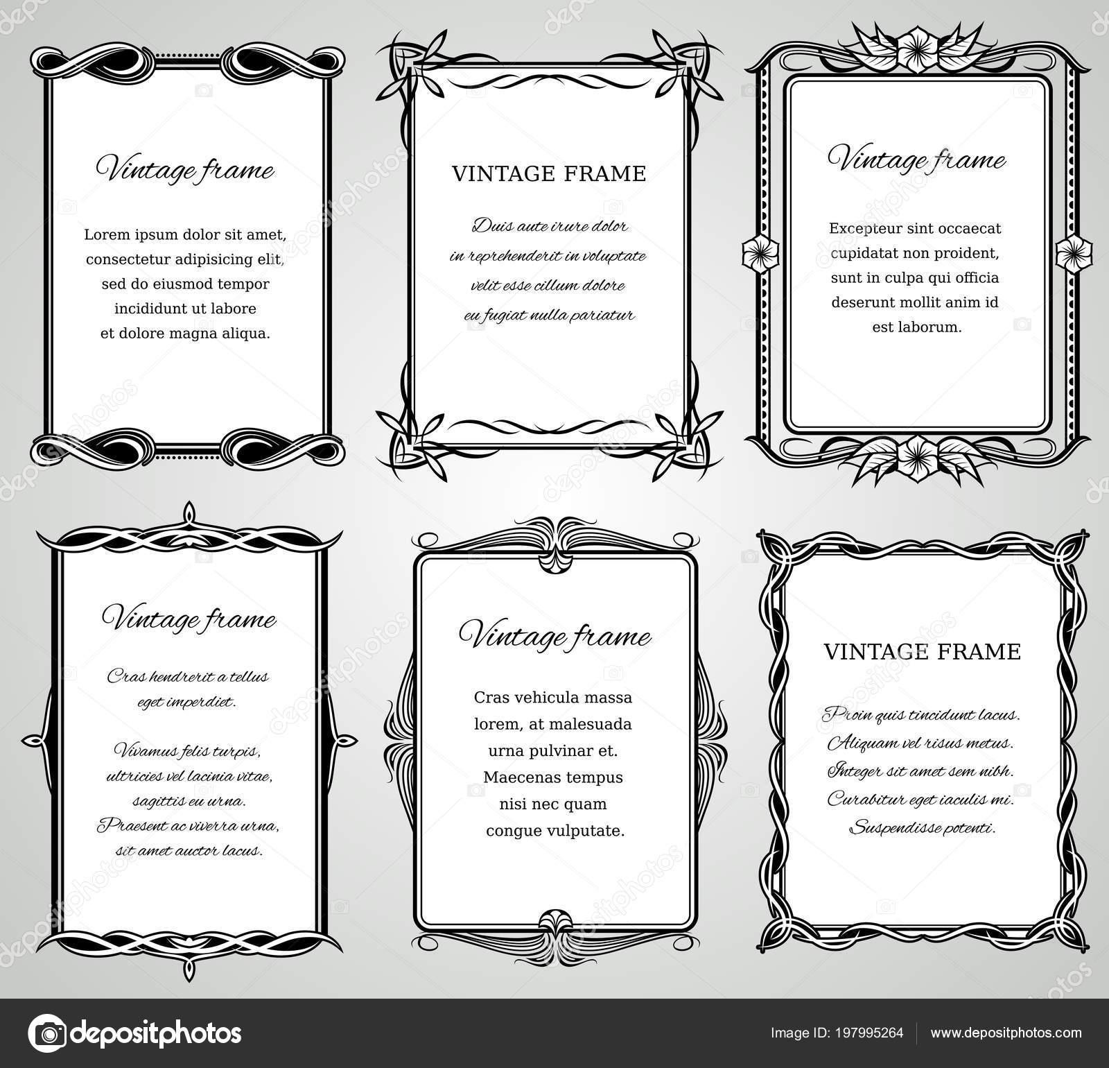 Fronteras clásicas retras y caligráfico viejos marcos de boda vector ...