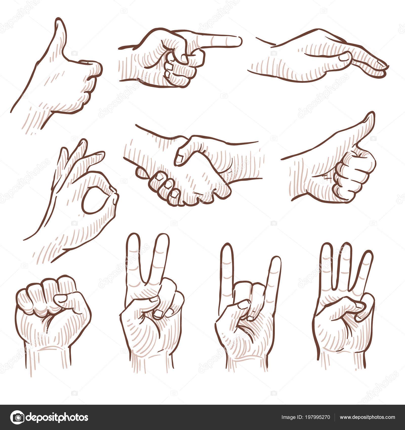 hand tekenen van de schets man handen tonen verschillende gebaren