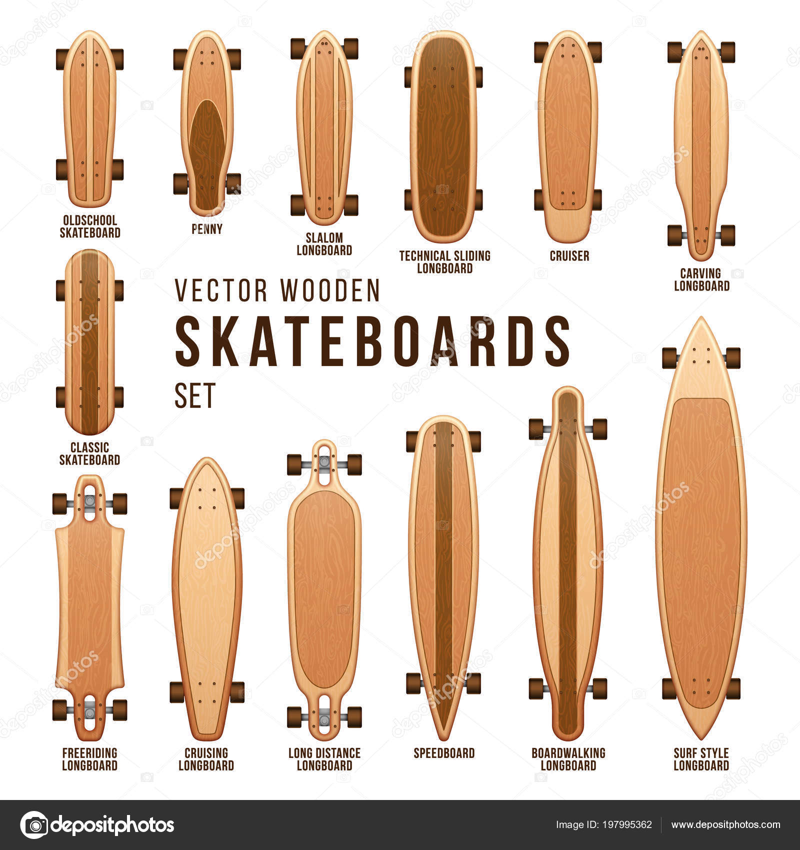 Different Skateboard Types Vector Templates Set Penny Board And Cruiser Boardwalking Speedboard Illustration By MicroOne
