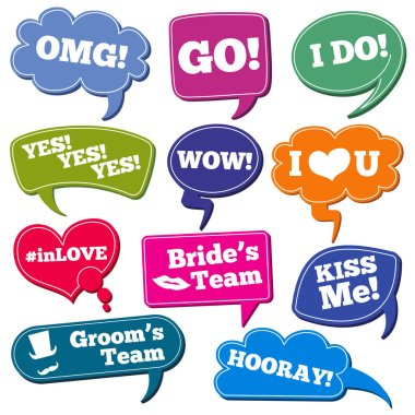 Weddings phrases in speech bubbles vector photo props set