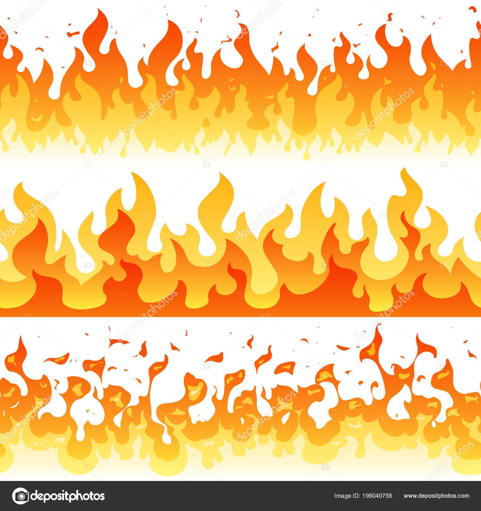 Dibujos animados fuego llama vector marco fronteras — Vector de ...