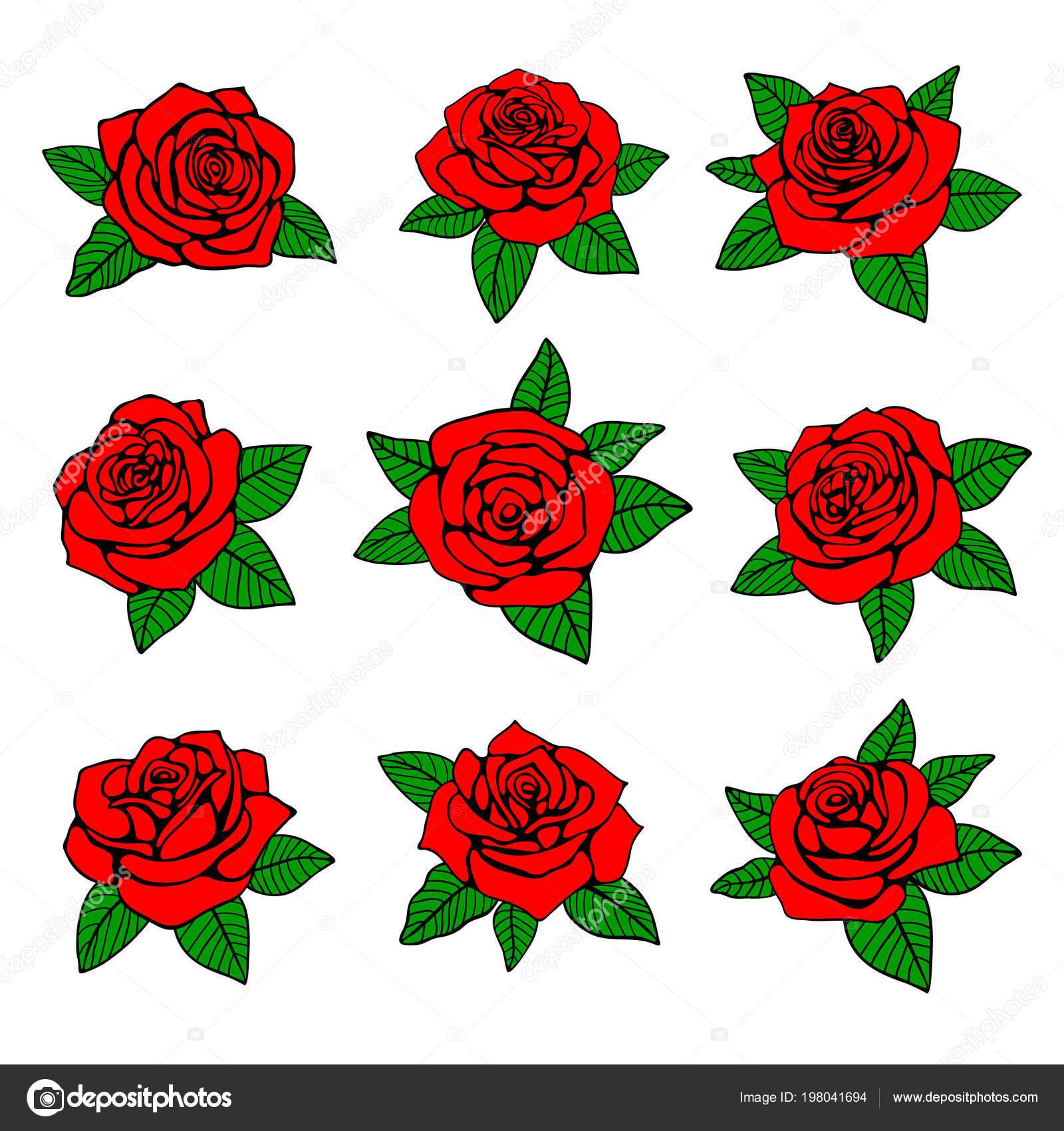 Rose Rosse Con Foglie Verdi Disegno Per Tatuaggio Vettoriale