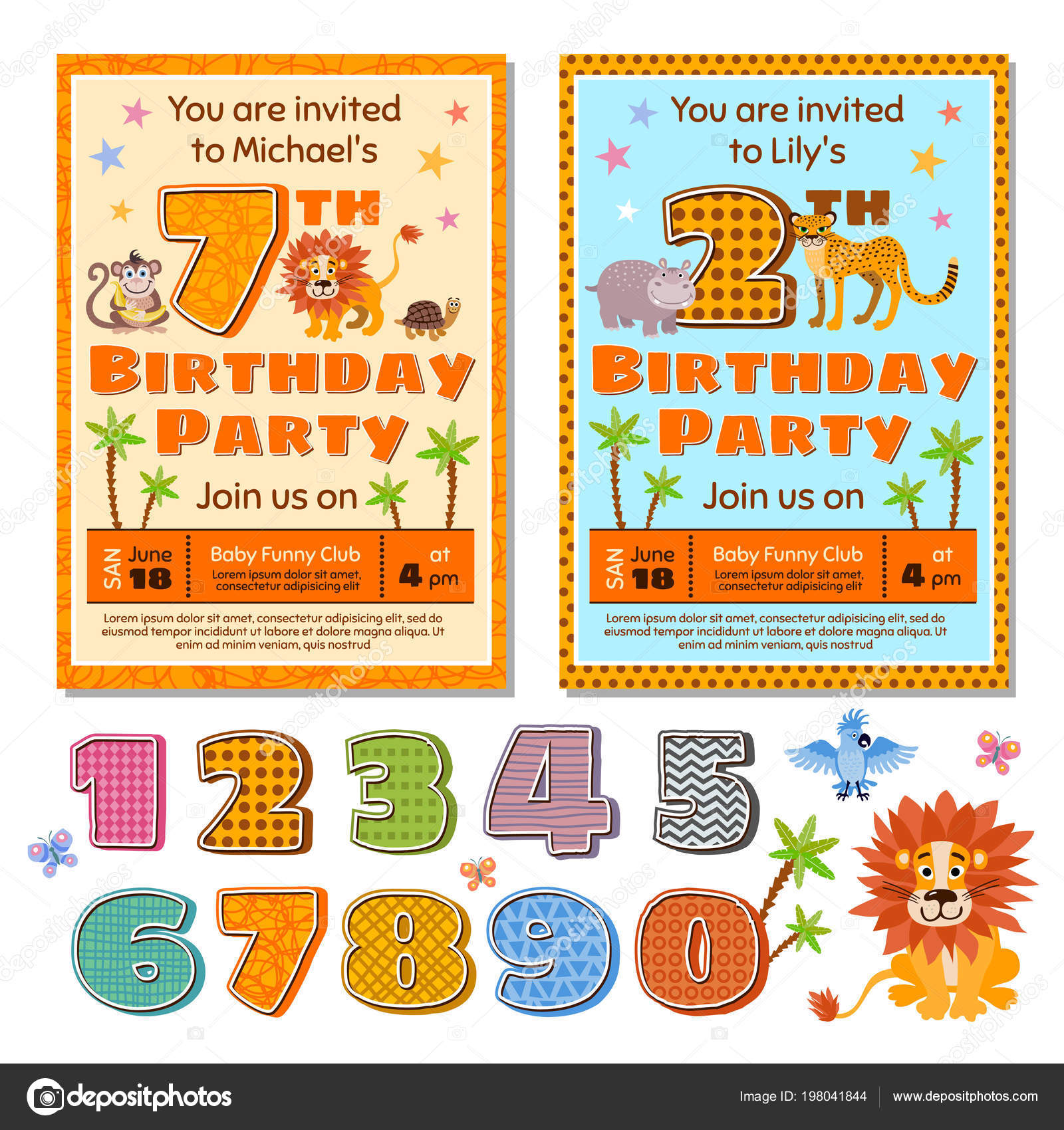 Plantilla de vector de tarjeta invitación fiesta de cumpleaños niños ...