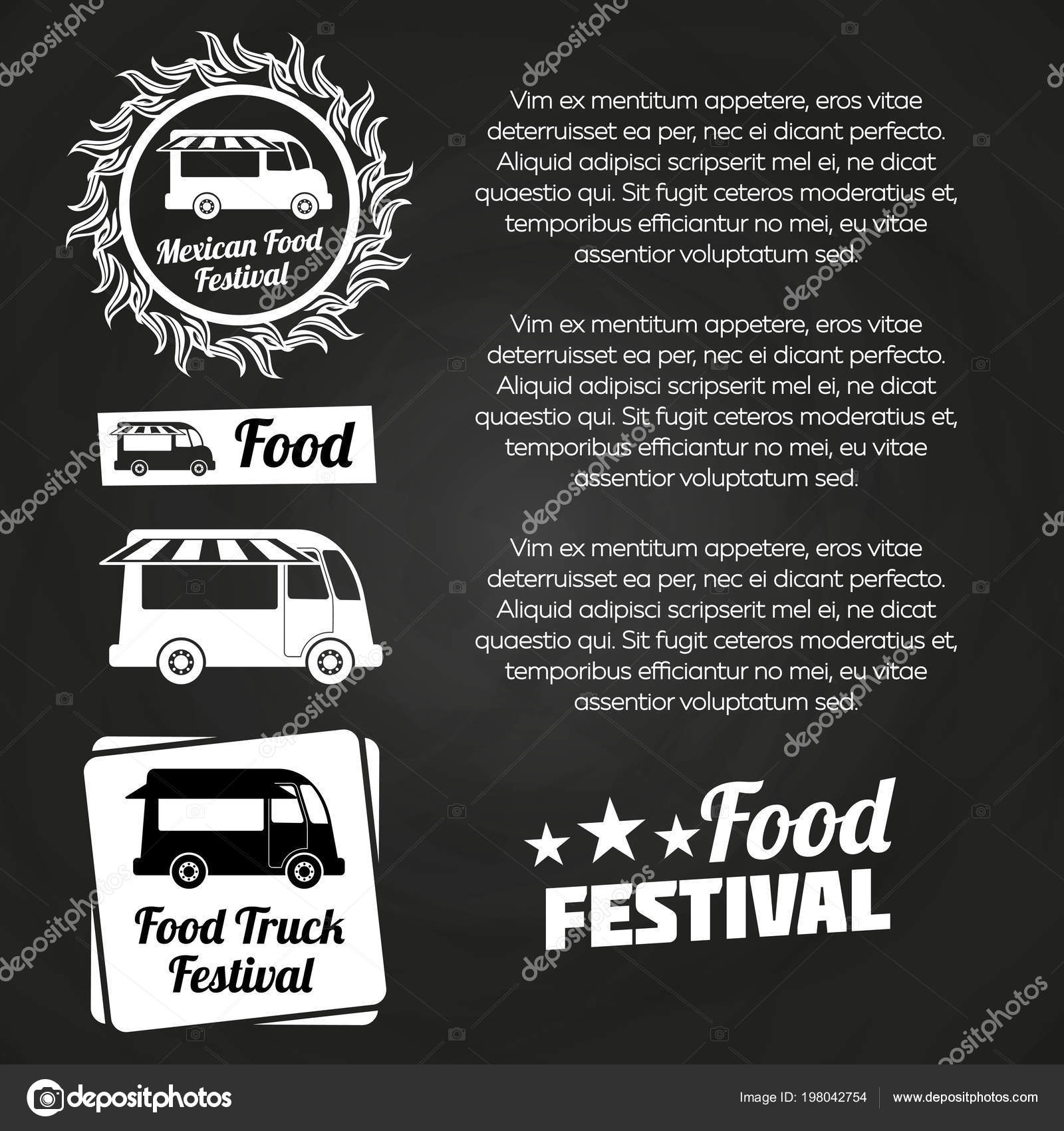 Chalkboard Food Festival Poster Design With Labels And Trucks Vector Illustration By MicroOne