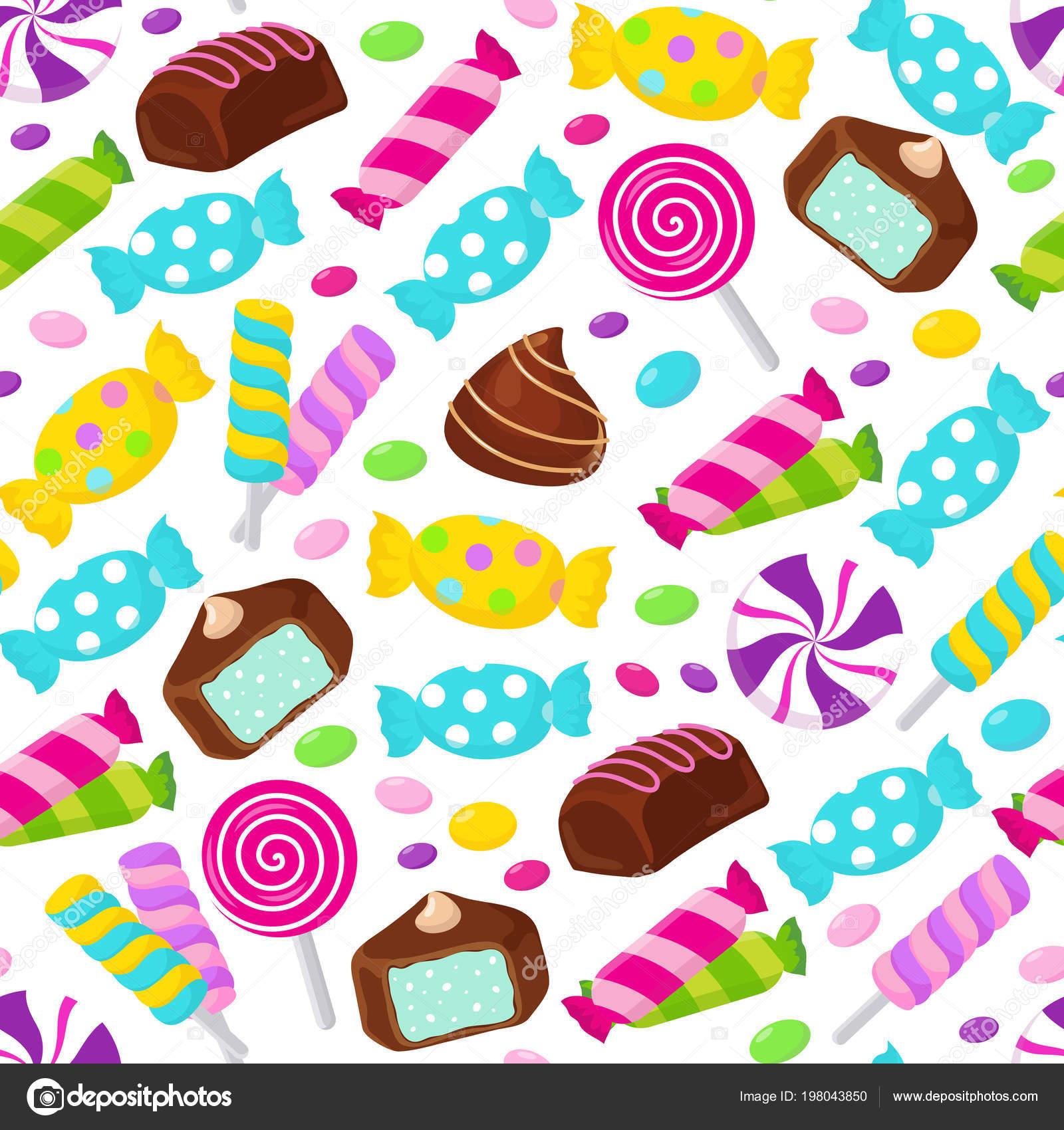 Patrón de vector transparente de Lollipop candy caramelo