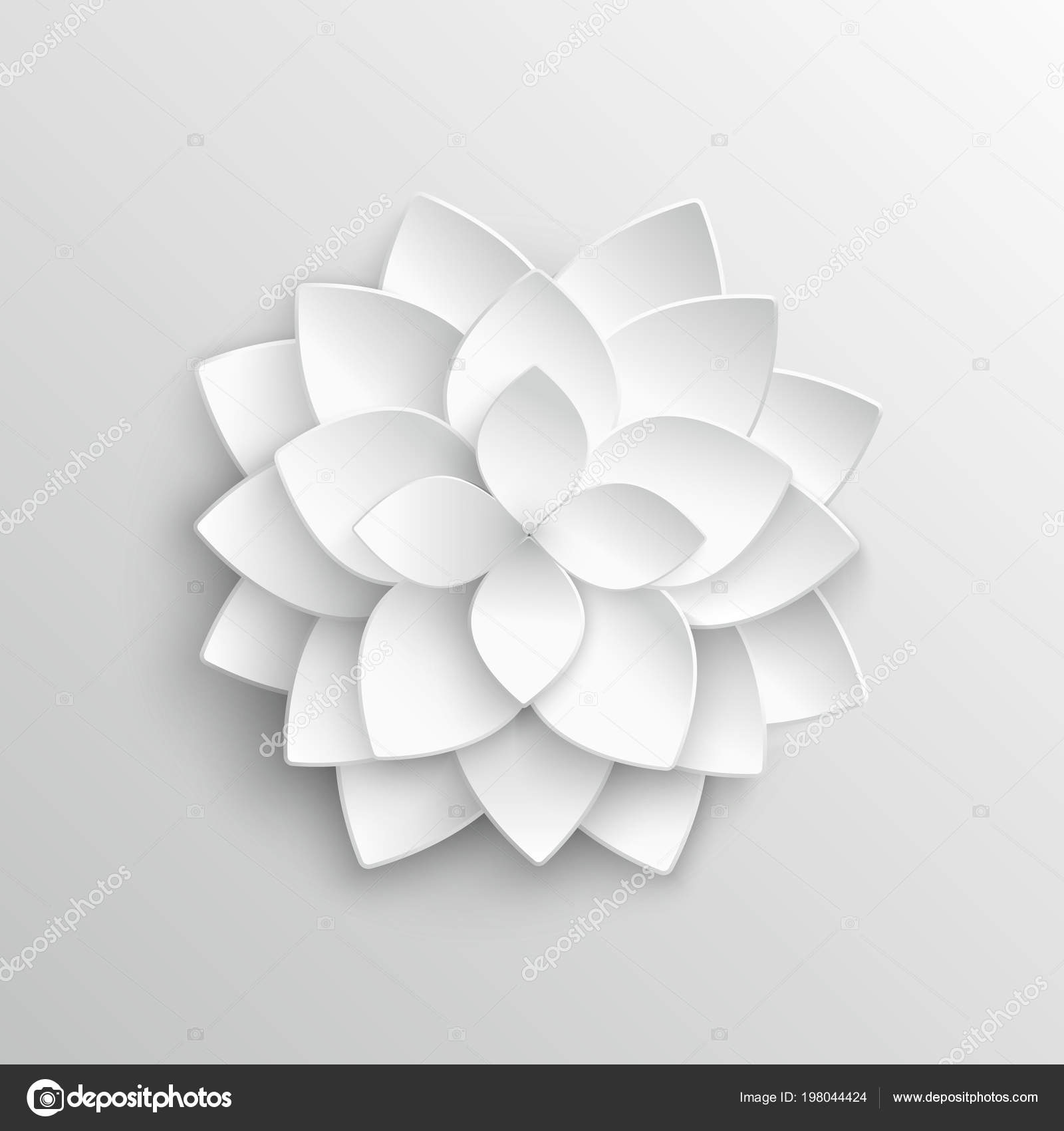 White Paper 3d Lotus Flower In Origami Style Vector Illustration