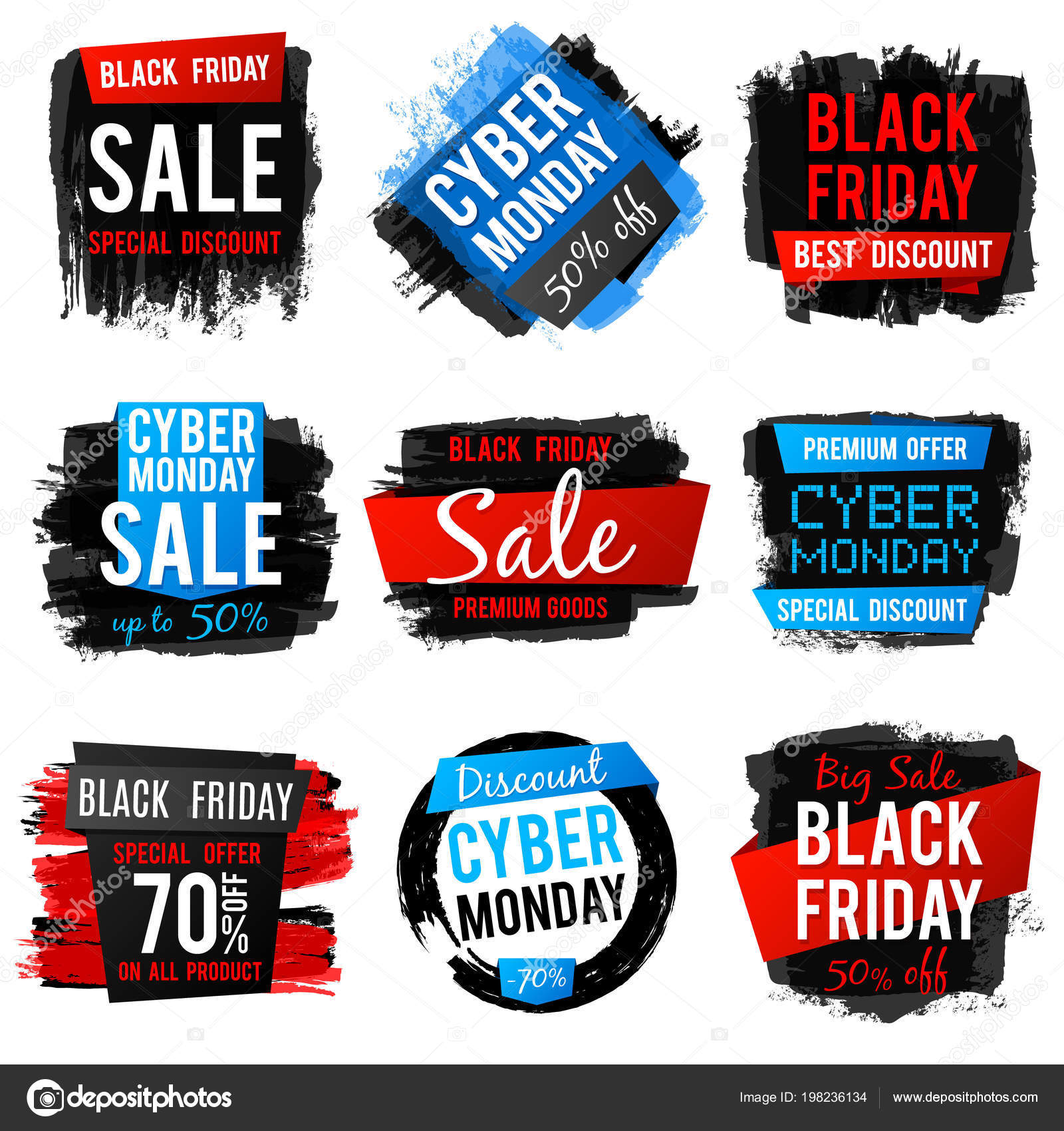 Black friday and cyber monday sale banner with big discount and best ...