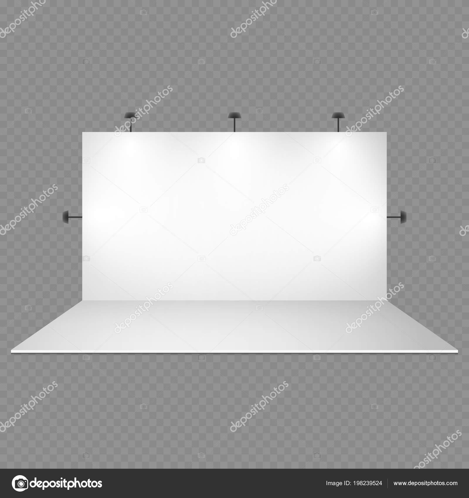 Lege witte beurs stand met geïsoleerd op transparante achtergrond ...
