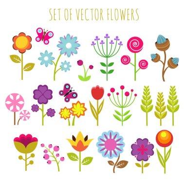 "Картина, постер, плакат, фотообои ""bright child garden flowers and butterfly vector set"", артикул 198235794"