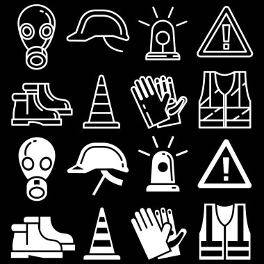 Line and silhouettes personal protective equipment icons set on black background. Vector illustration stock vector