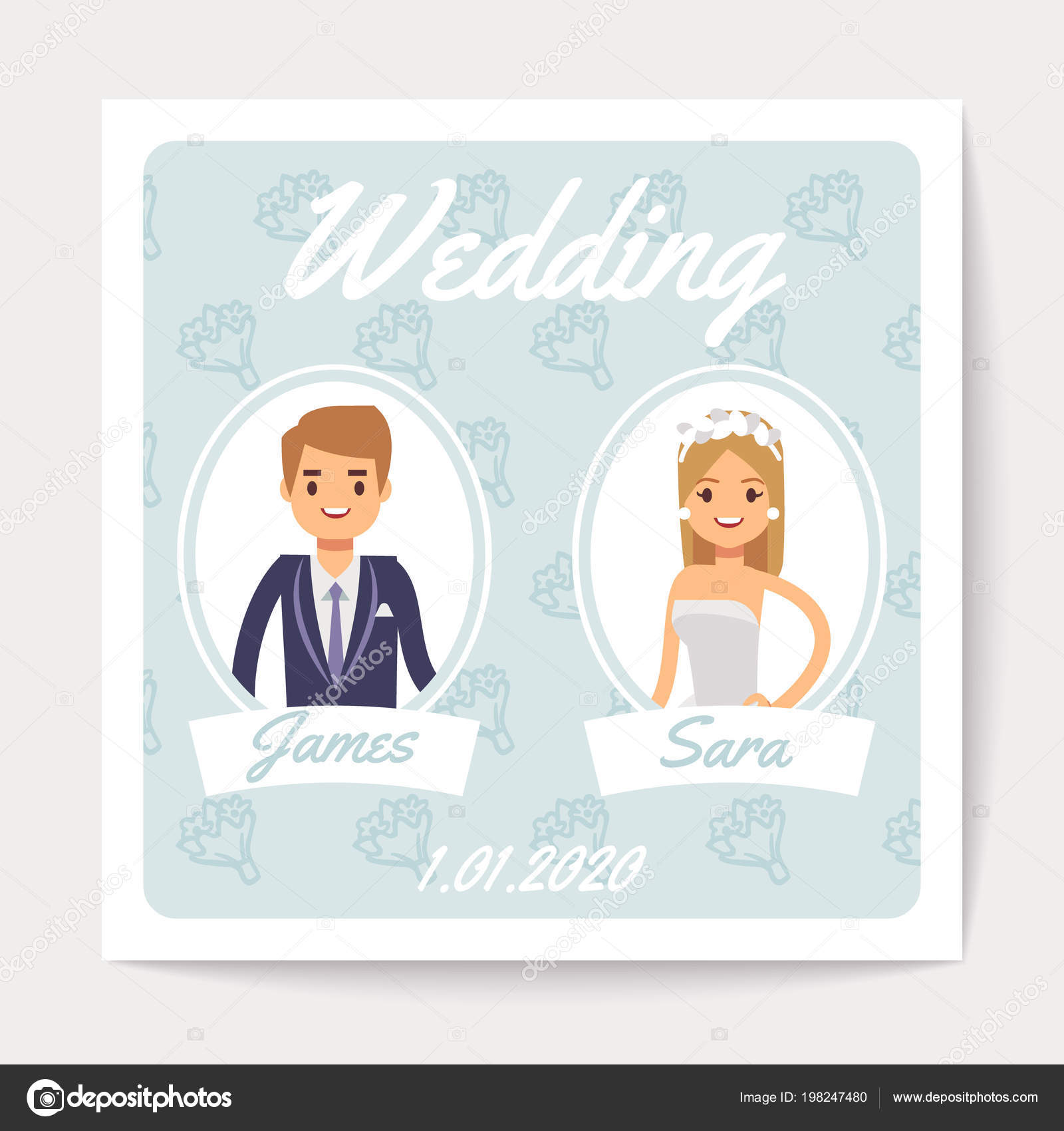 Wedding invitation vector card with happy married couple cartoon wedding invitation vector card with happy married couple cartoon bride and groom stock vector stopboris Image collections