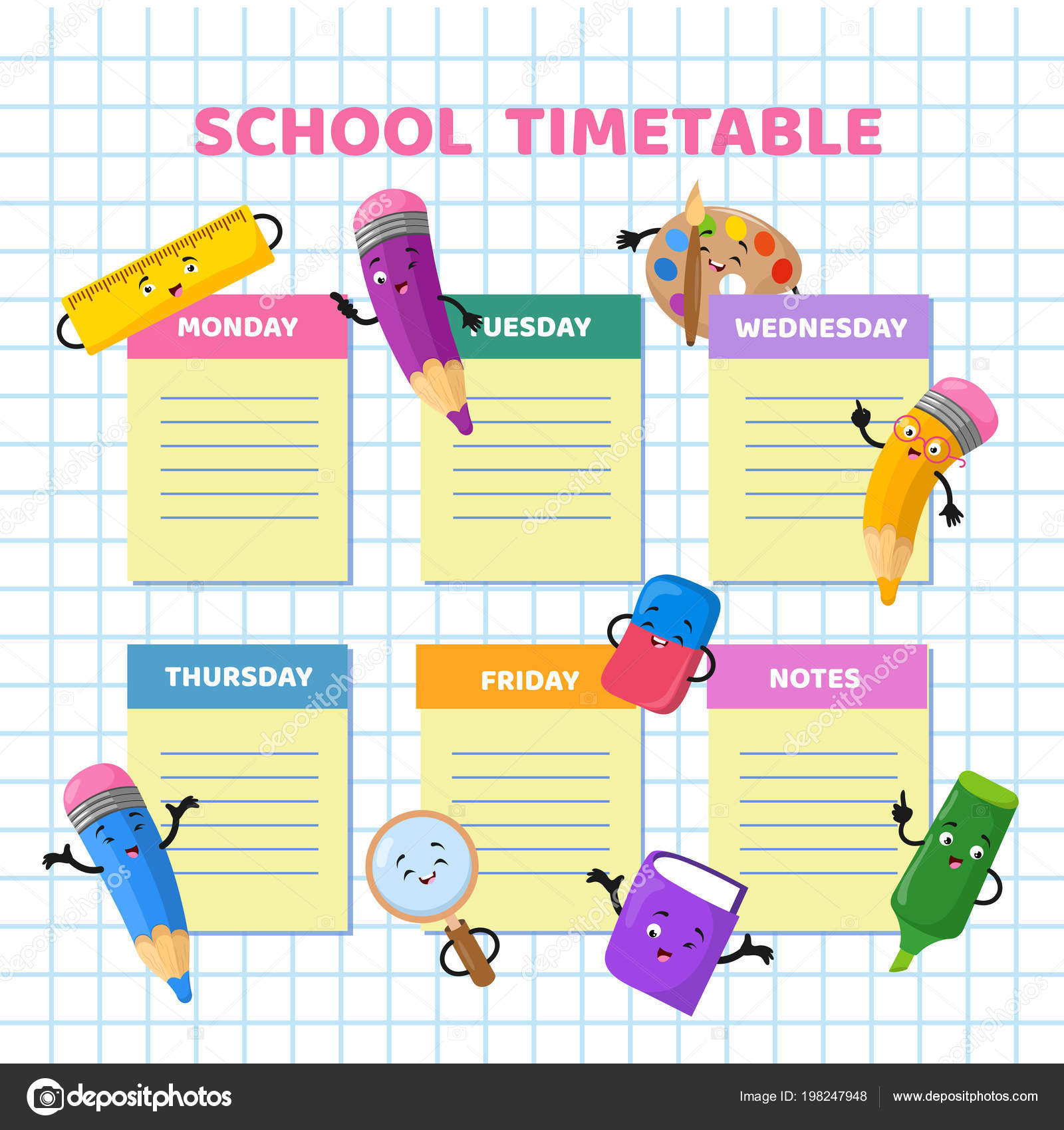 School timetable with funny cartoon stationery characters children school timetable with funny cartoon stationery characters children weekly class schedule vector template stock maxwellsz