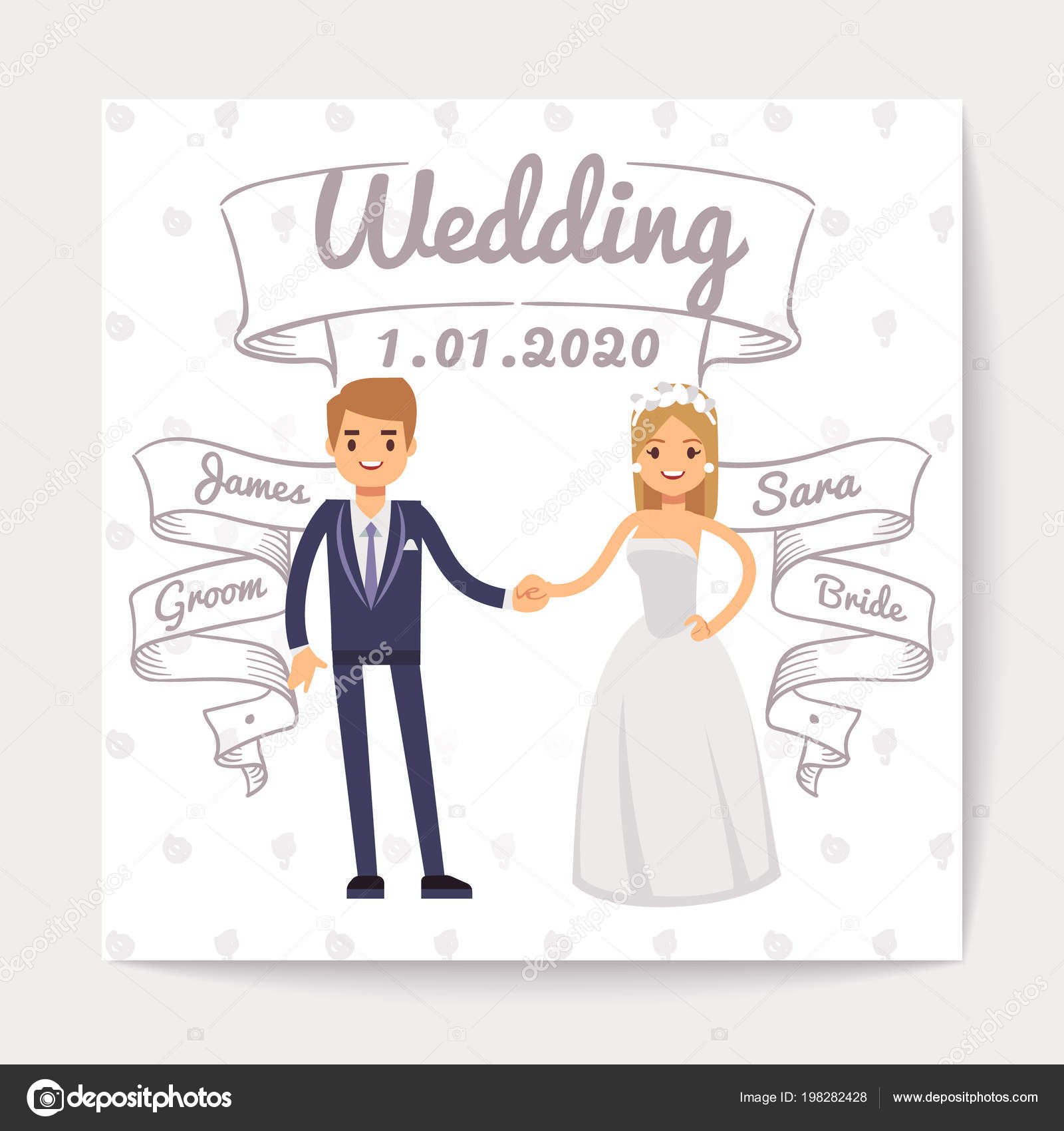 Wedding invitation card with just married young couple and them wedding invitation card with just married young couple and them names on hand drawn ribbons vector stopboris Image collections