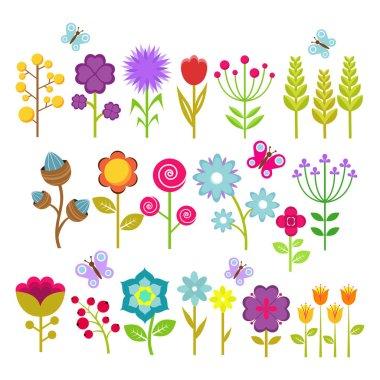 "Картина, постер, плакат, фотообои ""summer flowers isolated vector collection. cute floral elements for retro 70s design. vintage flower blossom of set illustration"", артикул 198284332"