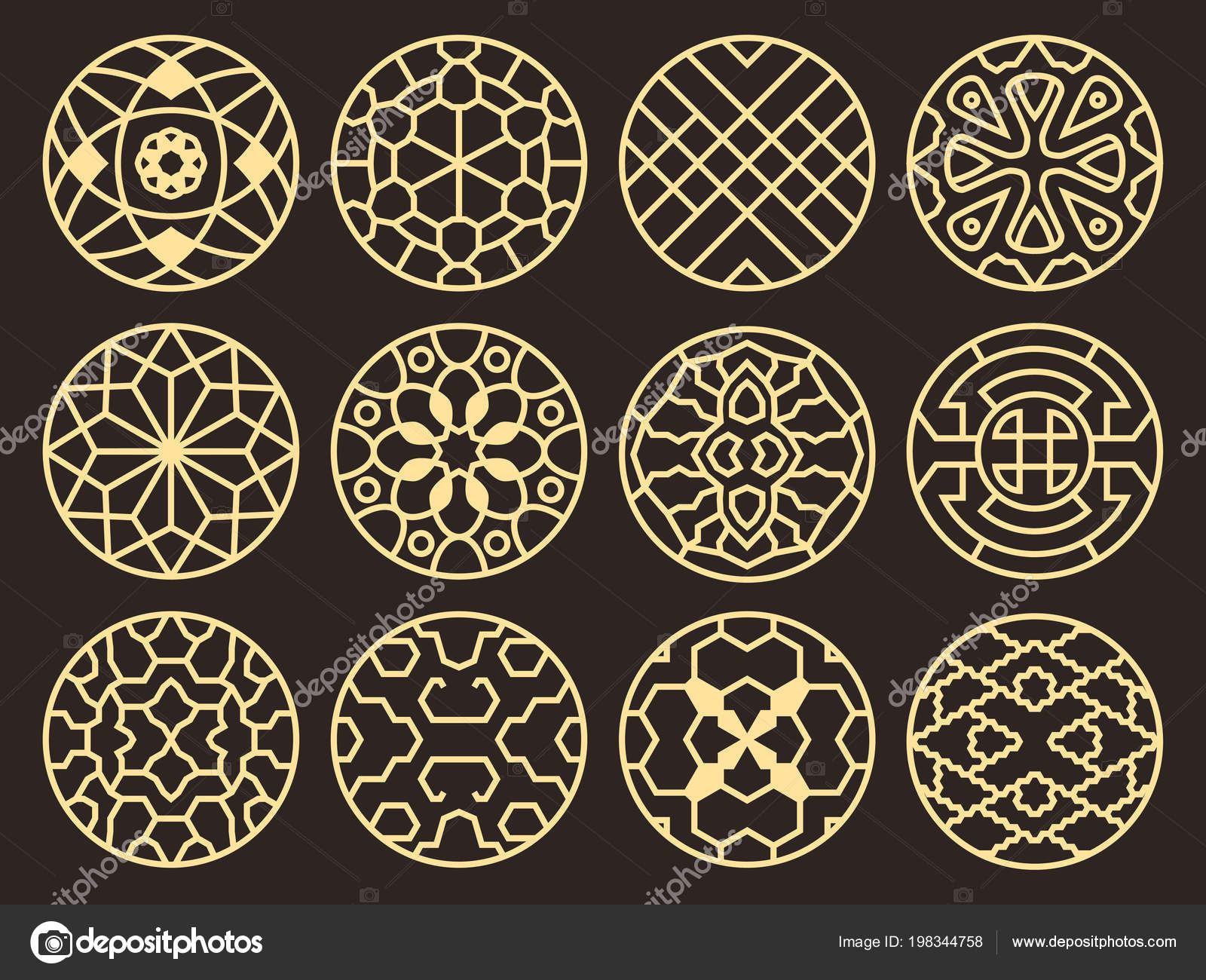 Korean And Chinese Traditional Vector Ancient Buddhist Patterns, Ornaments And