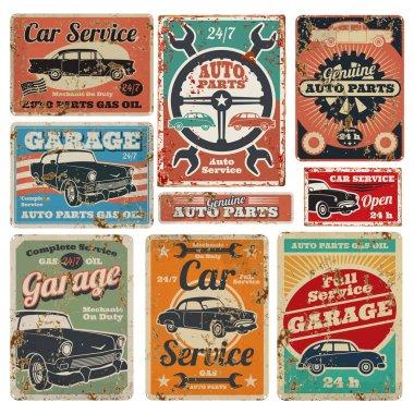 Vintage road vehicle repair service, garage and car mechanic advertising vector metal signs