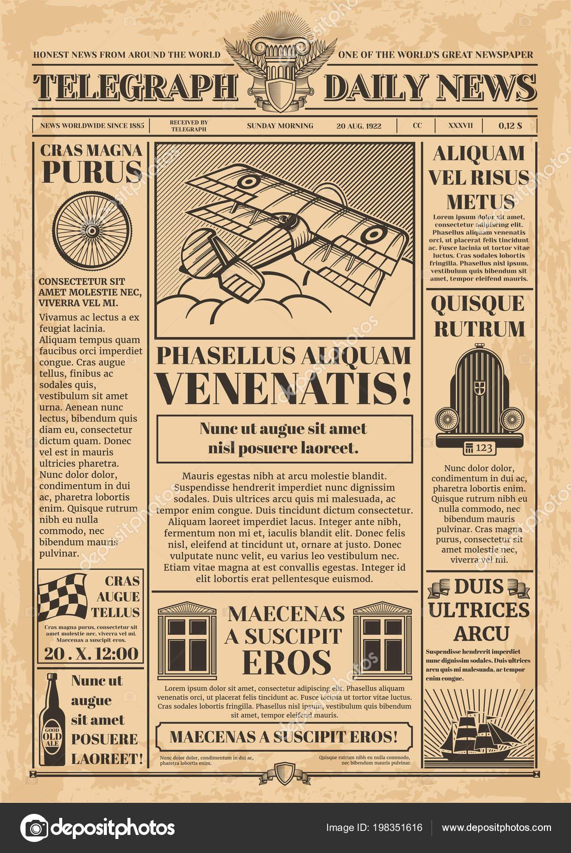 Plantilla de vector de periódico viejo. Papel retro con texto e ...