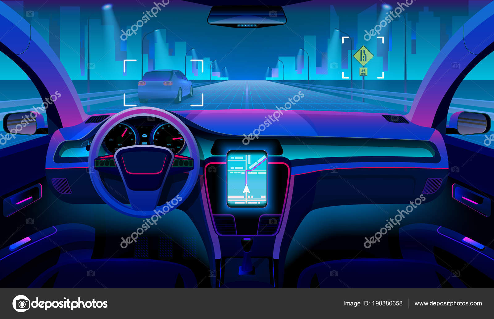 Future Autonomous Vehicle Driverless Car Interior With Obstacles
