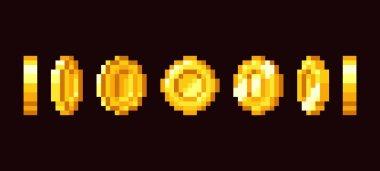 Gold coin animation frames for 16 bit retro video game. Pixel art vector set