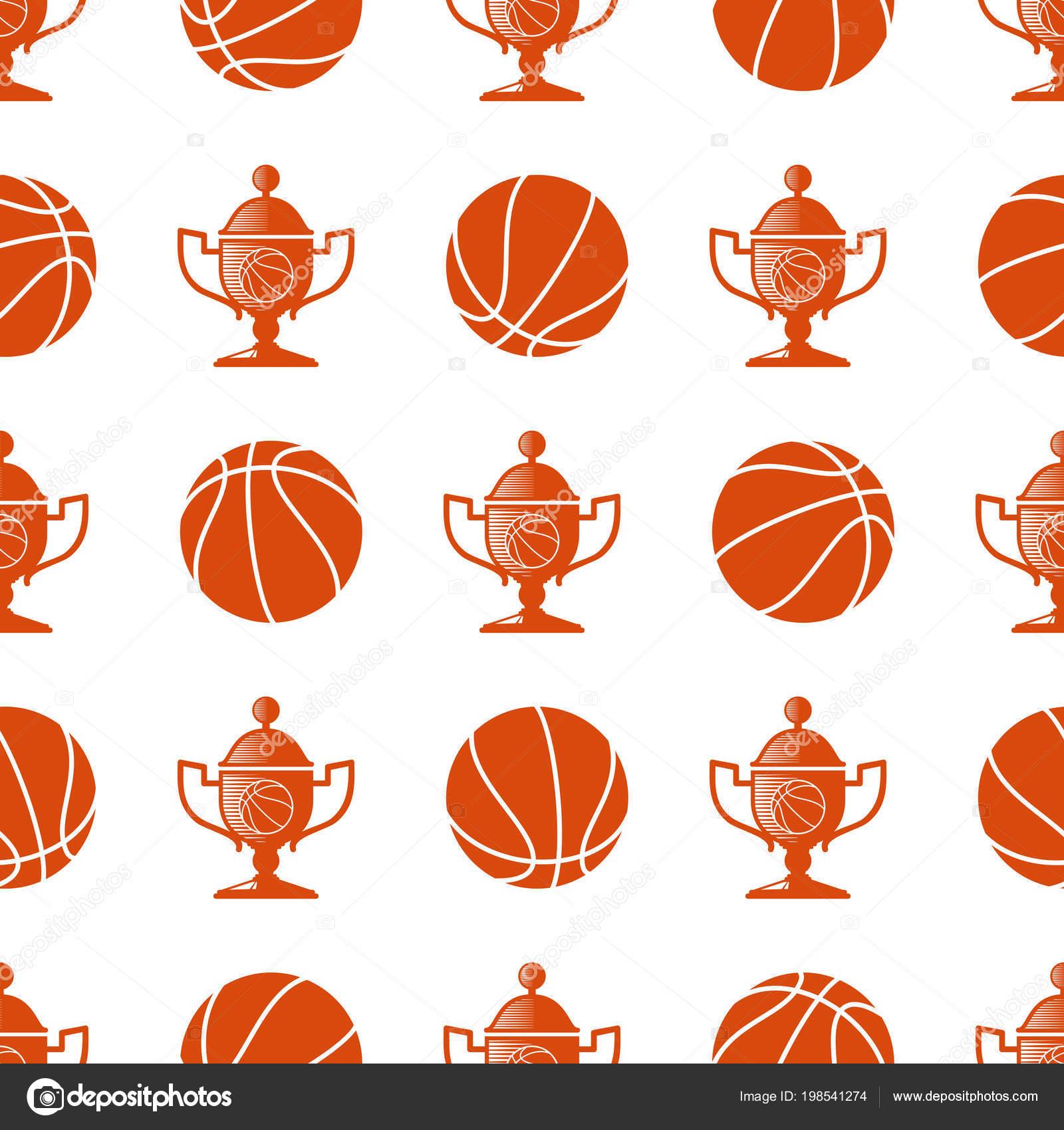 Patrón transparente de deporte con pelota de baloncesto y el trofeo. Fondo  de deporte 9acf8275bda90