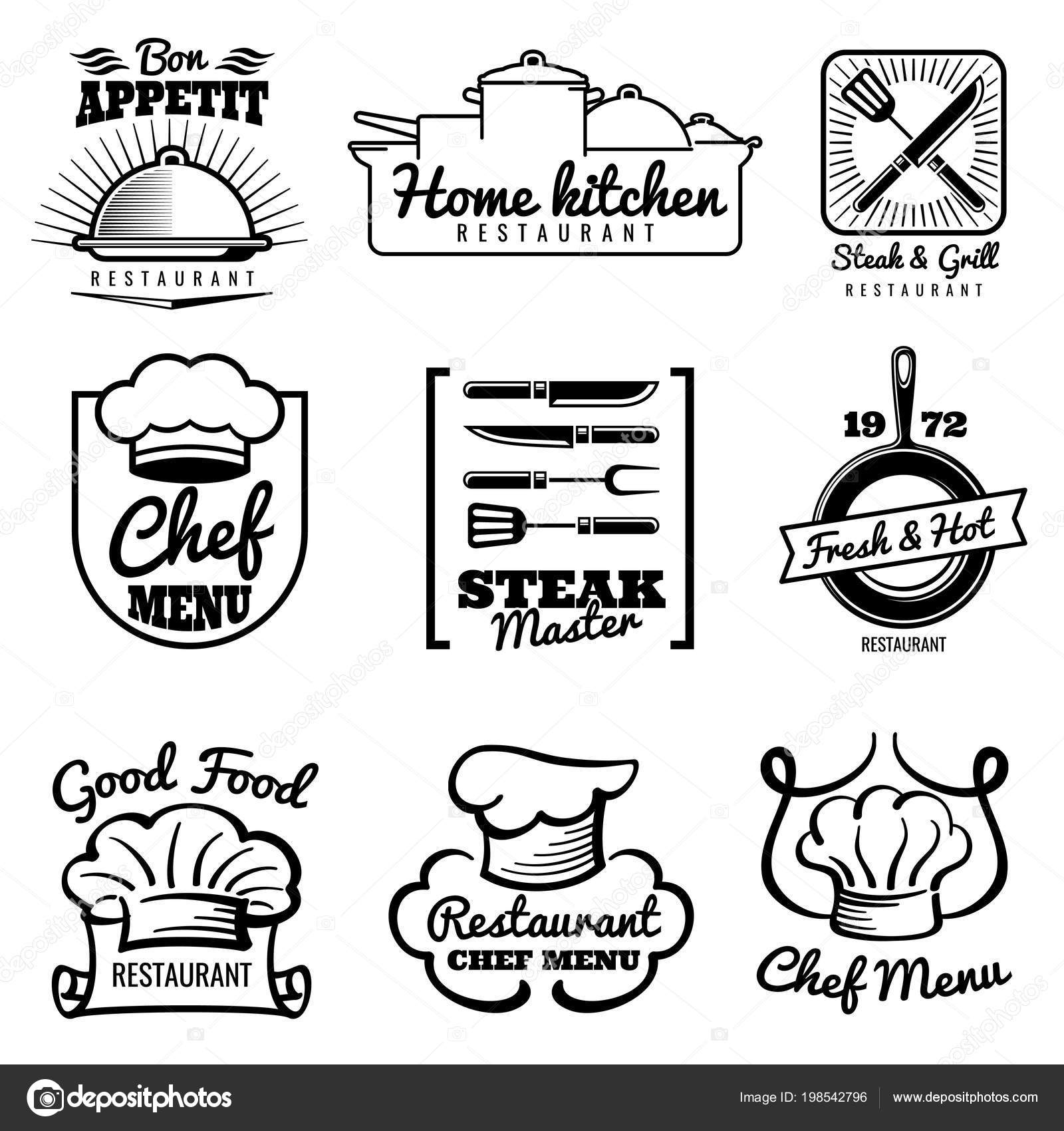 Restaurant-Vektor-Vintage Logo. Koch Retro-Etiketten. Kochen in der ...