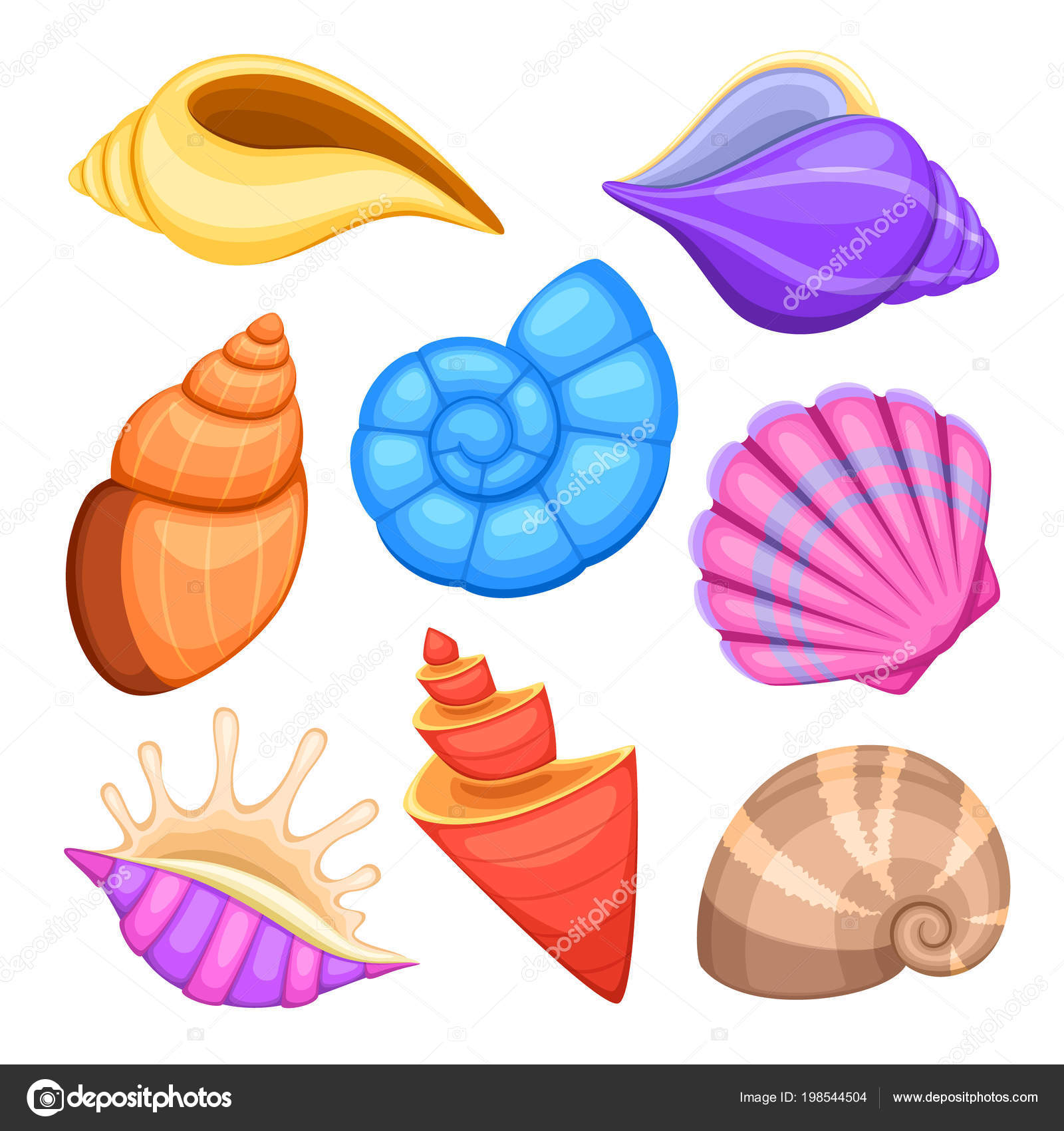 conchas de marisco de oceano  desenhos animados do mar