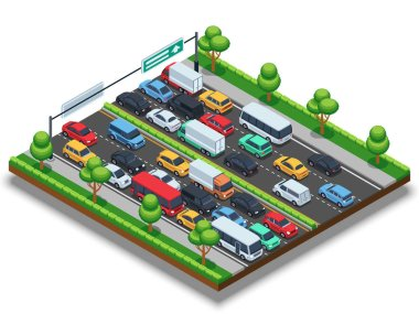 Isometric highway with traffic jam. 3d transportation vector concept with cars and trucks