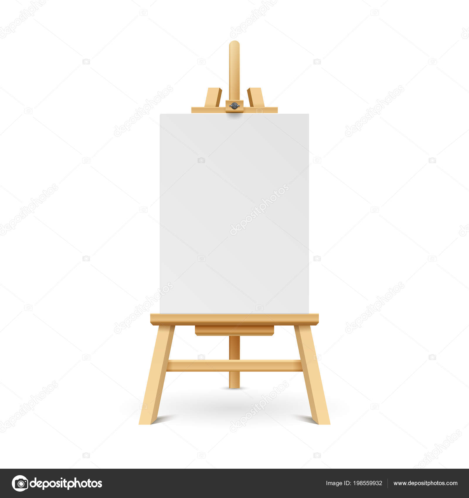 Wooden paint board with white empty paper frame. Art easel stand ...