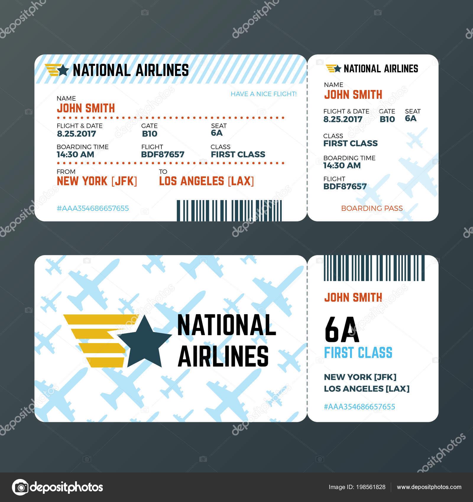 Flugzeug Flug boarding Pass Ticket isoliert Vektor Vorlage ...