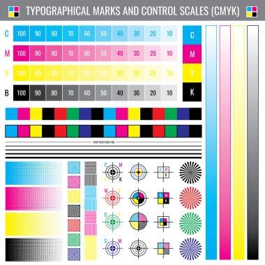 Calibration printing crop marks. CMYK color test vector document