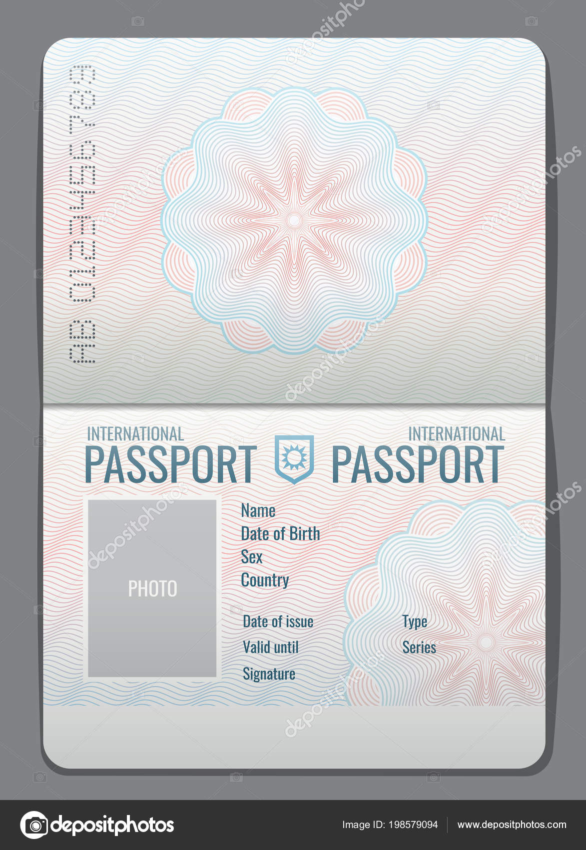 Passport template usa | Blank open passport template