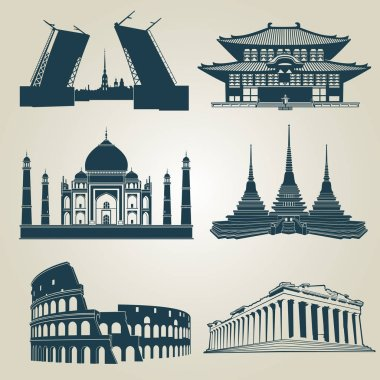 Vector silhouettes of world tourist attractions. Famous landmarks and destination symbols pantheon and taj mahal, coliseum and famous landmark illustration clip art vector