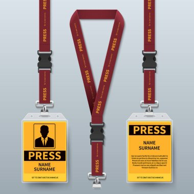 Business press pass id card lanyard badges realistic vector mock up isolated