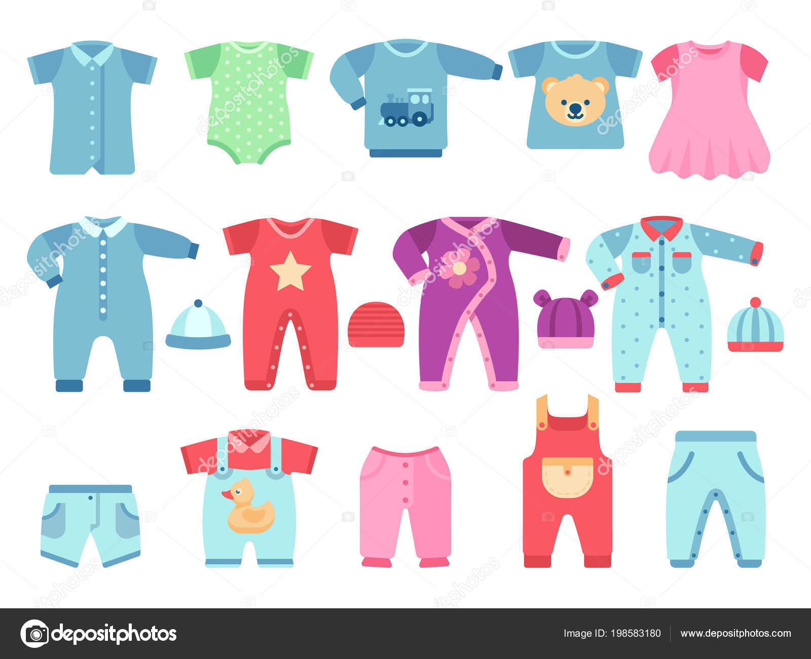 Ropa de bebé niño y niña. Ropa para bebé vector — Vector de stock ... a9df016866c0
