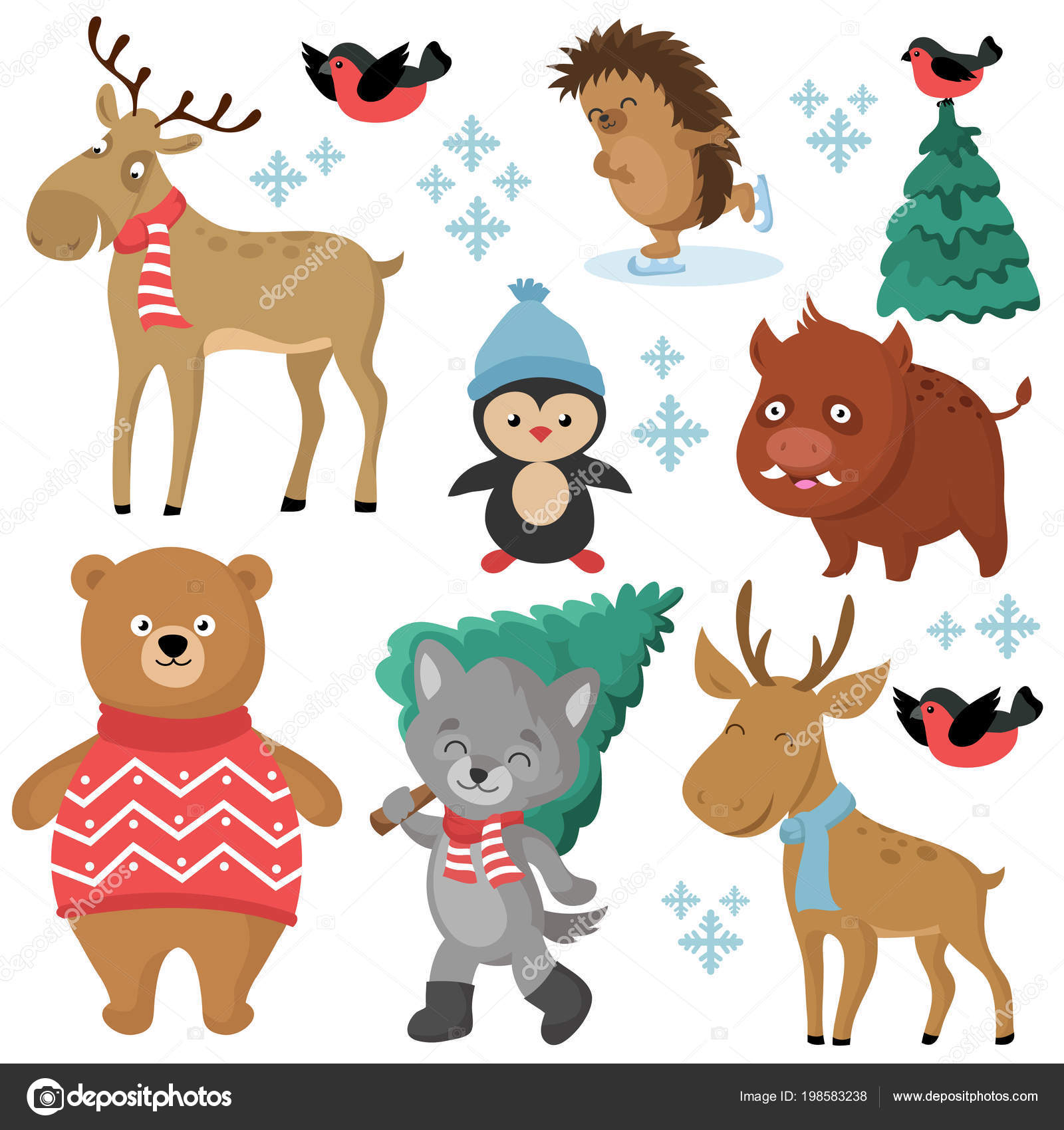 Happy Forest Animals In Winter And Christmas Trees Isolated On