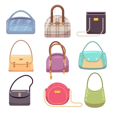 Colourful ladies handbags, woman accessories vector collection