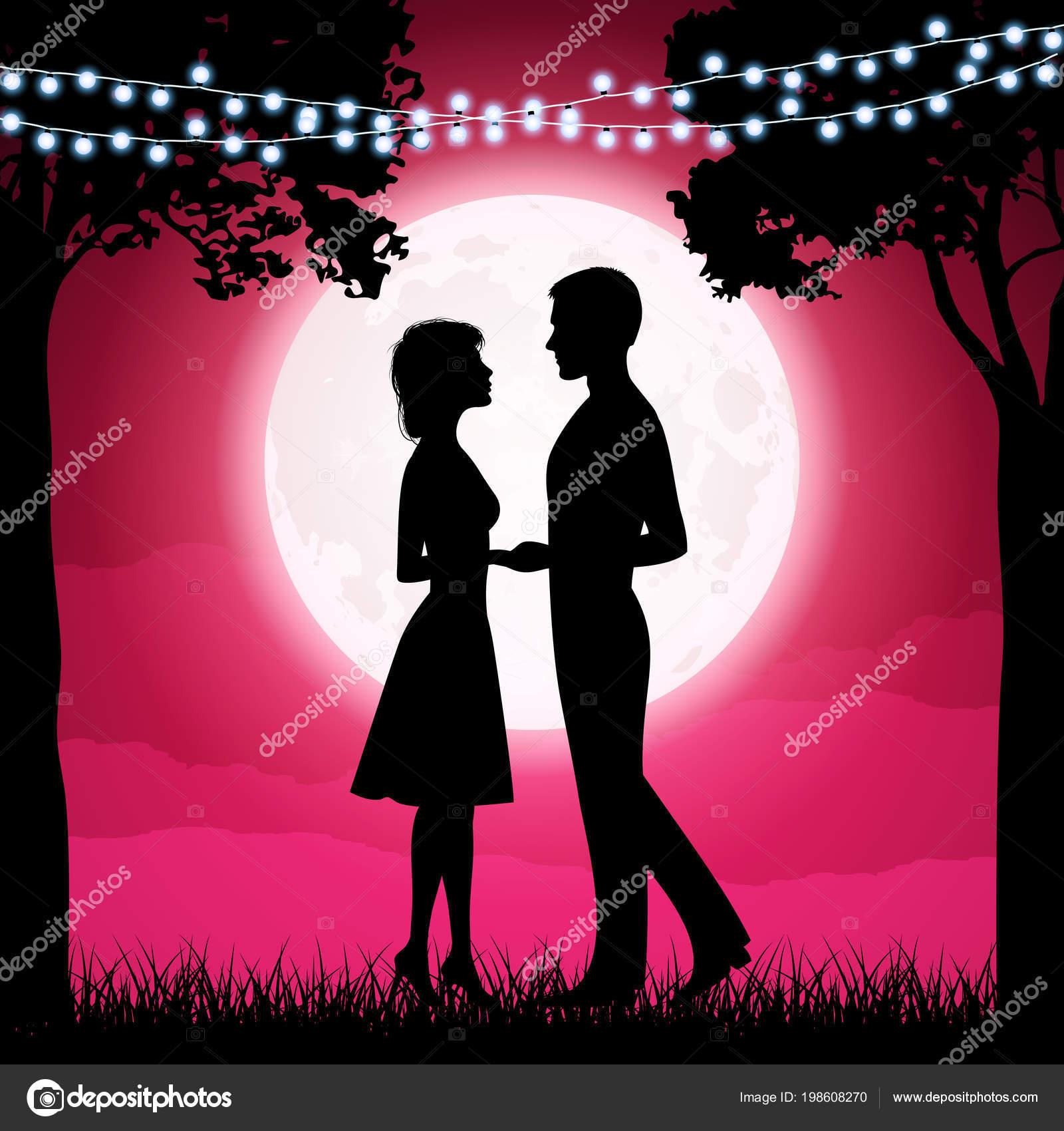Silhouettes Young Woman Man Moon Background Girlfriend Boyfriend