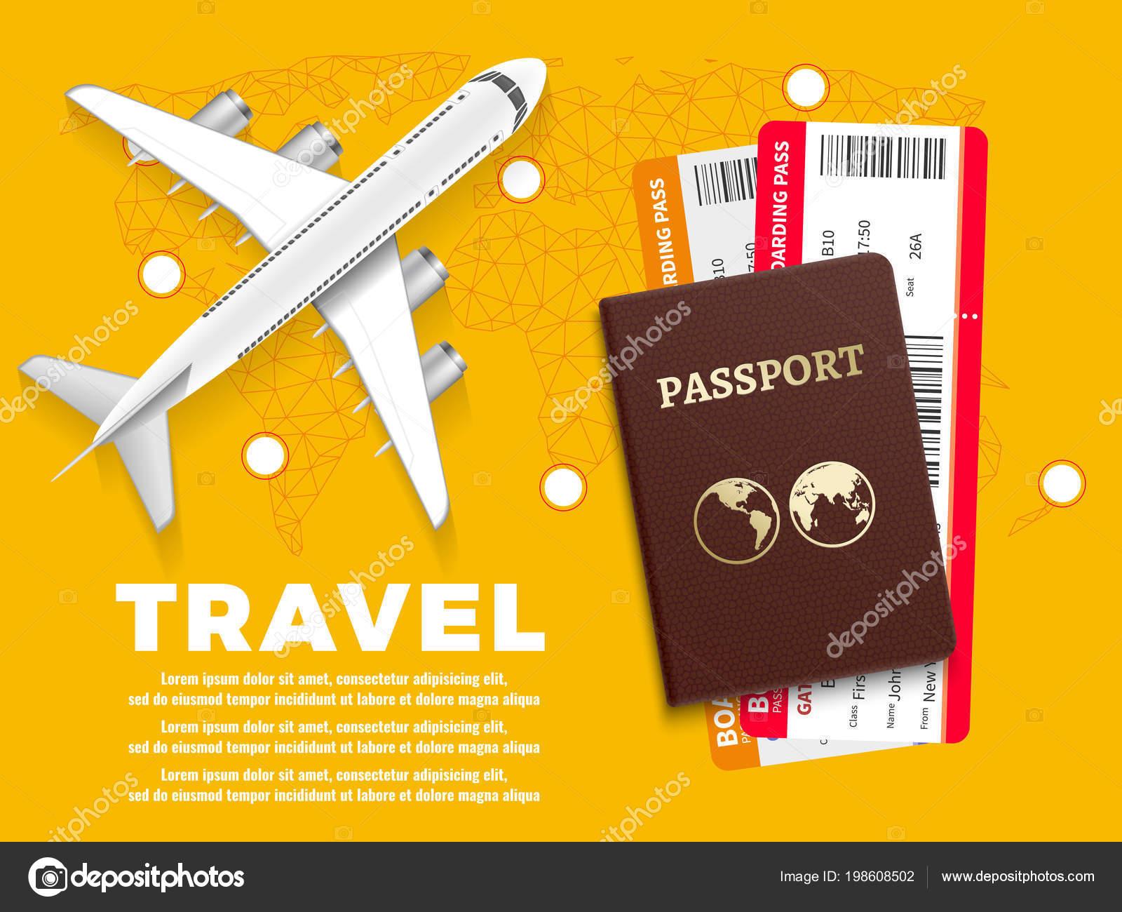 f85b2d003b Aire del recorrido banner con mapa del mundo de avión y pasaporte - diseño  del concepto de vacaciones– ilustración de stock