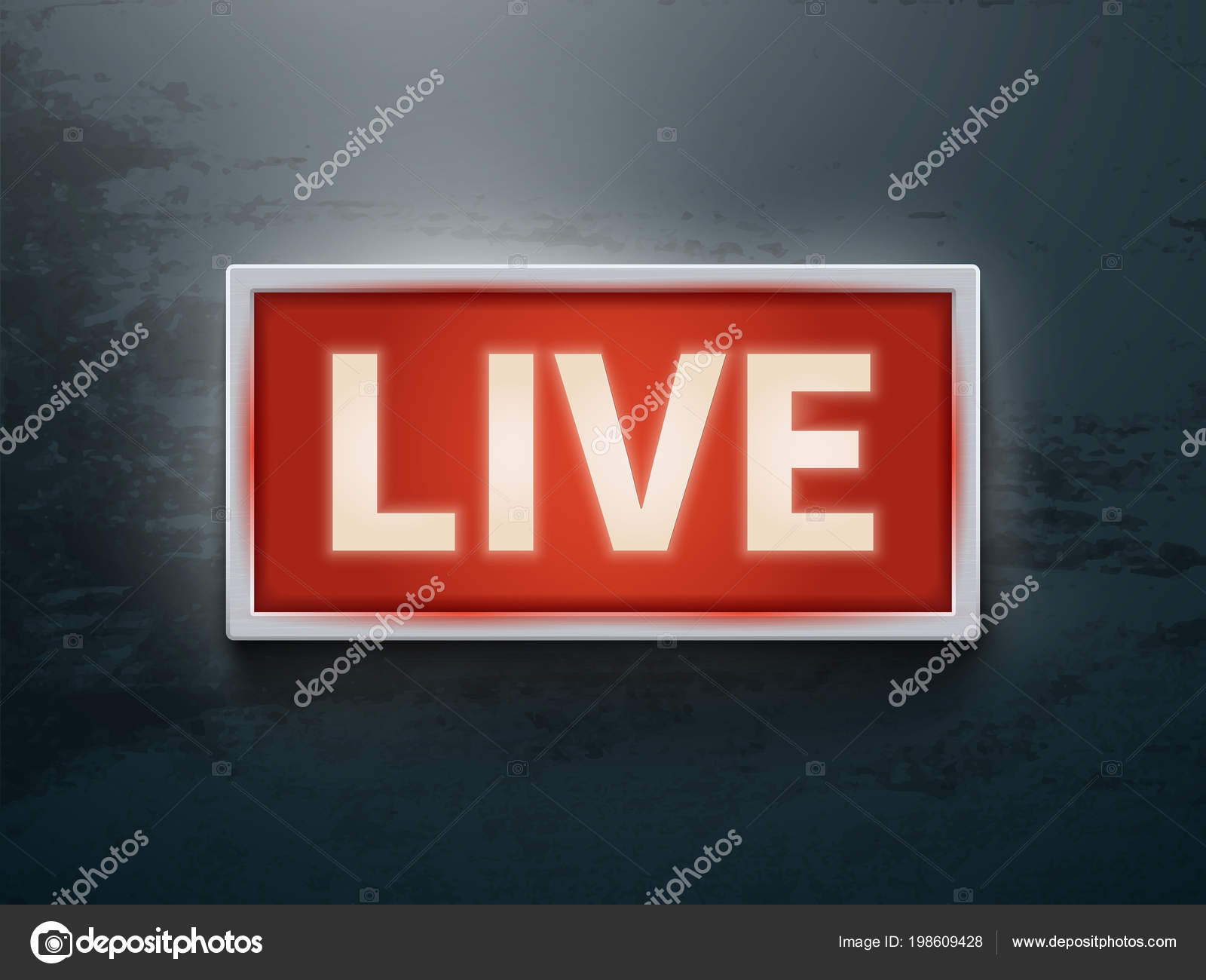 On Air Glowing Sign Live Tv Or Radio Light Vector Symbol Stock