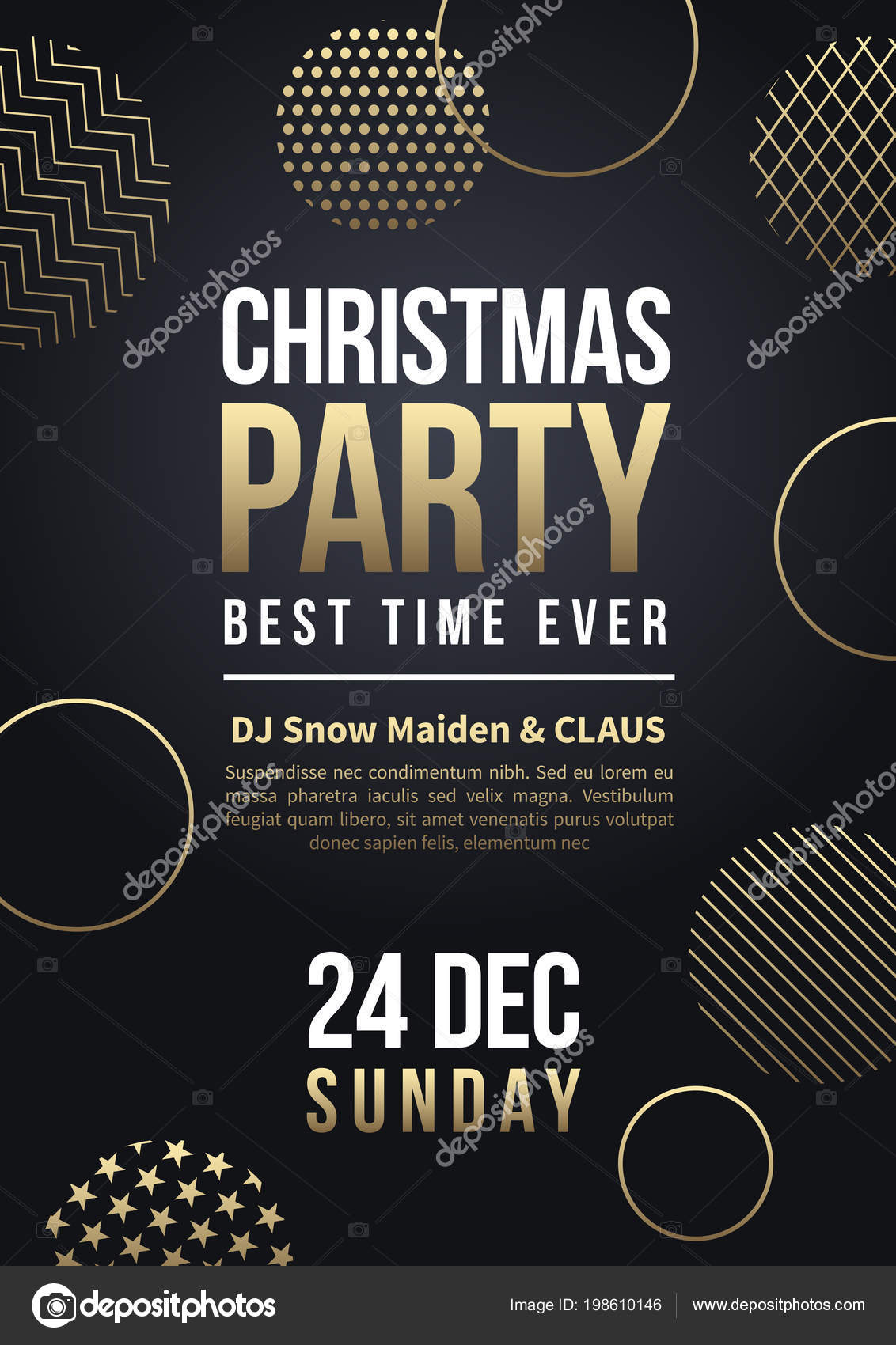 christmas party flyer or poster vector winter holiday greeting card