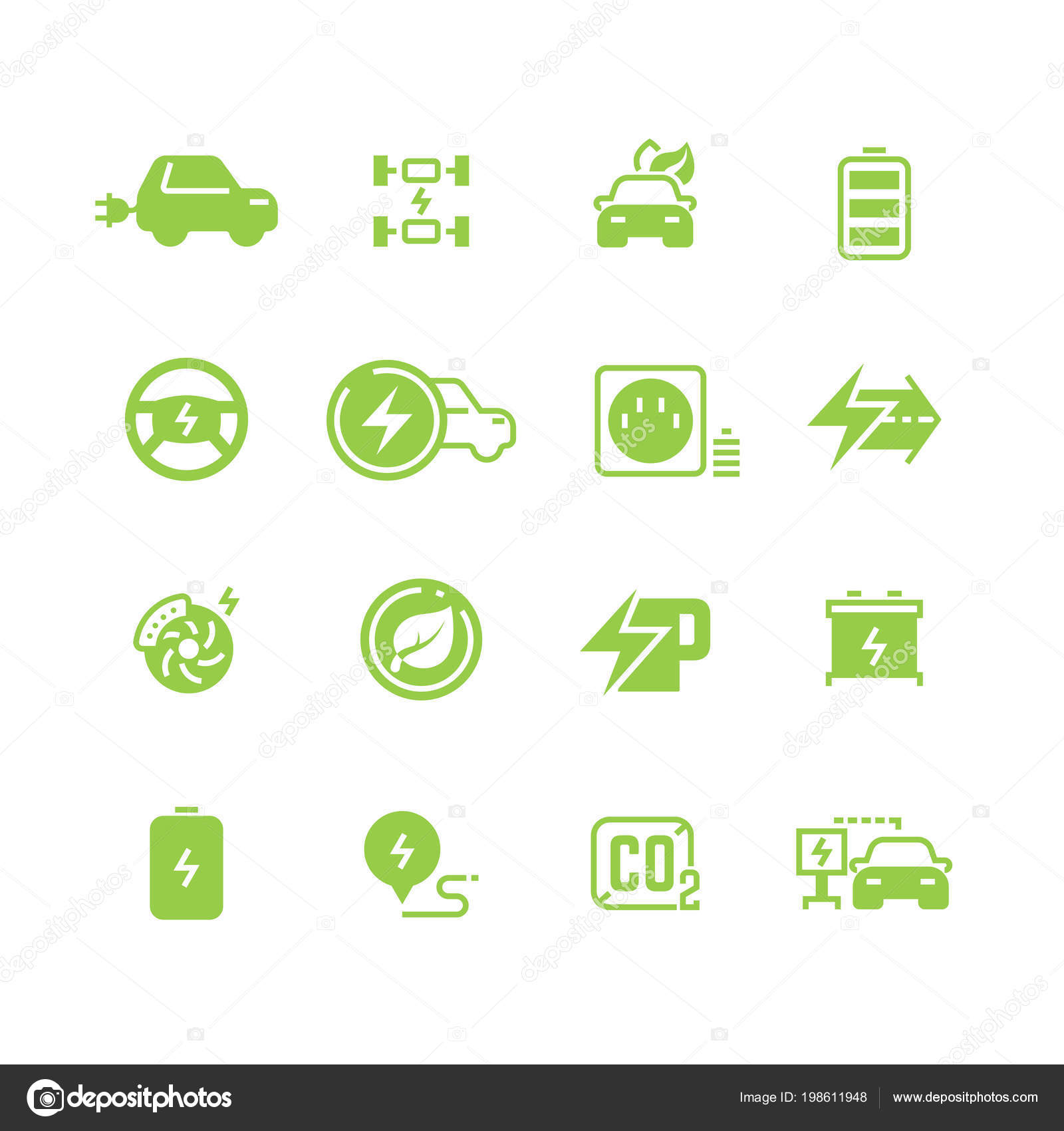 Elektrische Ladung Symbole und Elektroauto Eco Transport Piktogramme ...