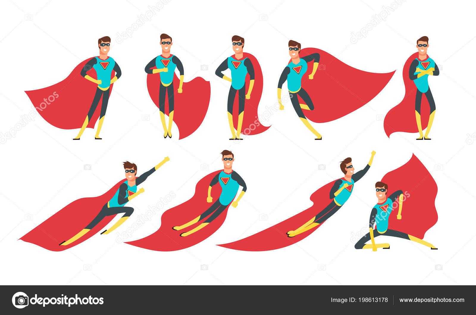 Superhelden Mann In Verschiedenen Posen Cartoon Superhelden Vektor
