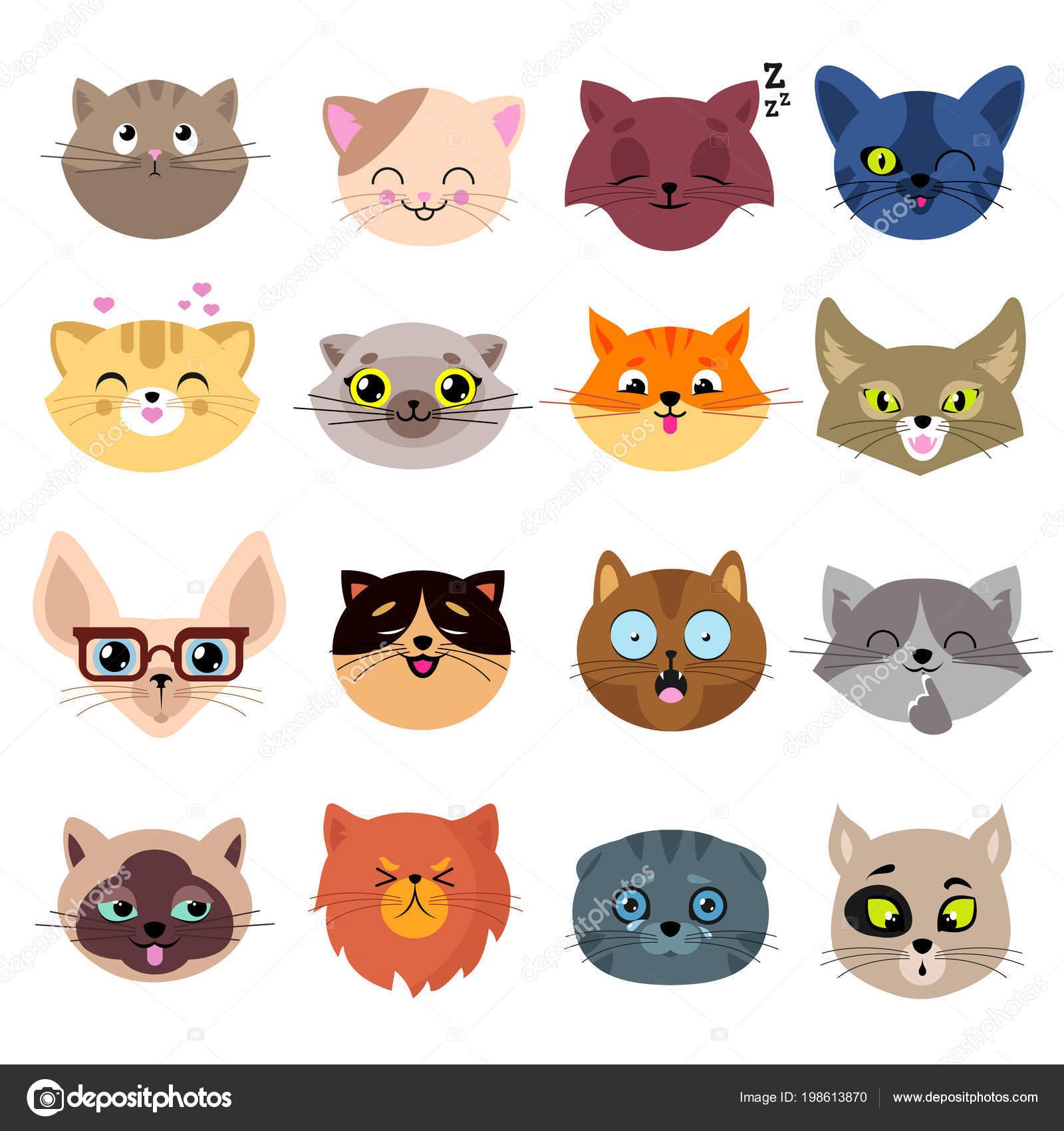Imágenes Caras De Gatos Animados Caras De Gato Divertido De La