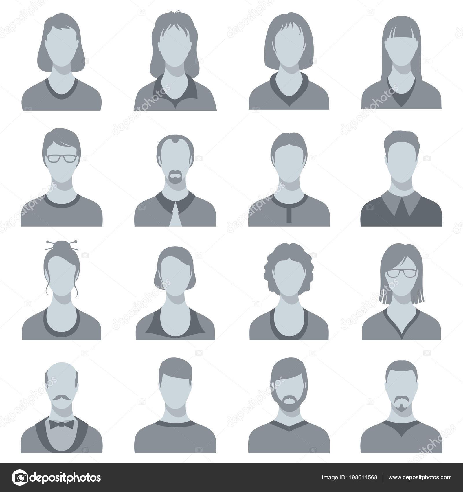 female and male head vector silhouettes user profile avatars