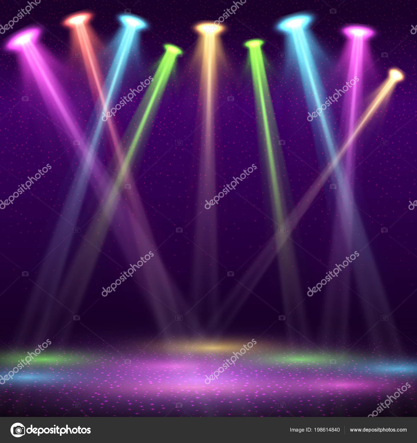 852693f5c Interior moderno de discoteca con espectáculo vacío etapa y color spot  luces vector ilustración. Interior estadio del club de noche, discoteca con  viga ...