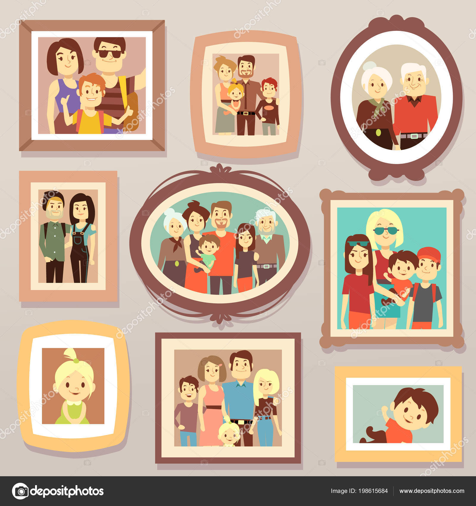 Big Family Smiling Photo Portraits In Frames On Wall Vector