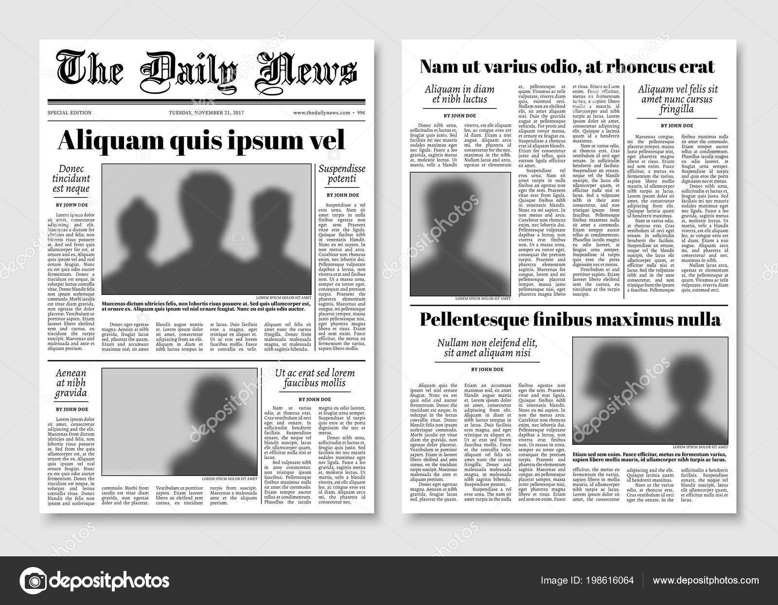 Paper Tabloid Newspaper Vector Layout Editorial News Template