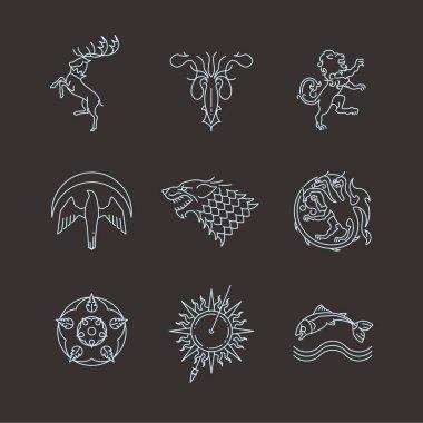 Line heraldic animals gaming thrones symbols